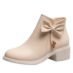 Women's PU Chunky Heel Boots Ankle Boots Pointed Toe With Bowknot Solid Color shoes