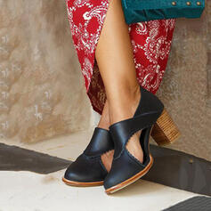 Women's PU Chunky Heel Round Toe With Hollow-out shoes