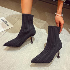Women's Flying Weave Stiletto Heel Mid-Calf Boots With Solid Color shoes