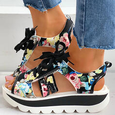 Women's PU Flat Heel Sandals Peep Toe Slingbacks With Lace-up Splice Color Floral Print shoes