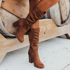 Women's Suede Chunky Heel Boots Mid-Calf Boots Heels With Ruched Zipper Solid Color shoes