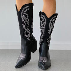 Women's Microfiber Chunky Heel Riding Boots Pointed Toe With Splice Color Embroidery shoes