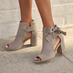 Women's Suede Chunky Heel Sandals Pumps Ankle Boots Round Toe With Bowknot Lace-up Hollow-out Solid Color shoes