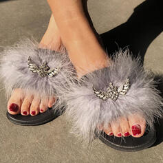 Women's Fake fur Flat Heel Sandals Peep Toe With Rhinestone shoes