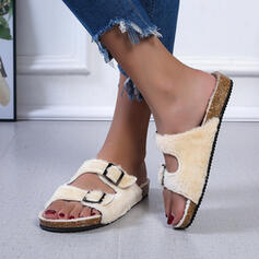 Women's Leatherette Flat Heel Sandals Peep Toe Slippers With Buckle Faux-Fur shoes