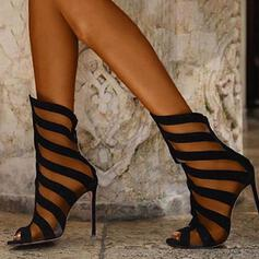 Women's Suede Stiletto Heel Pumps With Hollow-out Splice Color shoes