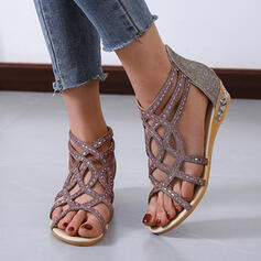 Women's PU Flat Heel Sandals Peep Toe Slingbacks With Rhinestone Zipper Hollow-out shoes