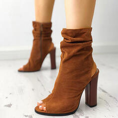 Women's Suede Chunky Heel Boots Peep Toe Slingbacks High Top With Ruched Solid Color shoes