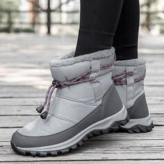 Women's Cloth Flat Heel Mid-Calf Boots Snow Boots Round Toe With Lace-up Solid Color shoes