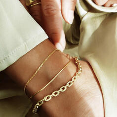 Vintage Simple Link & Chain Layered Alloy Anklets (Set of 3)
