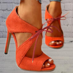Women's Suede Stiletto Heel Sandals Pumps Heels With Lace-up Hollow-out Solid Color shoes
