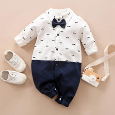 Baby Boy Bow Button Print Cotton One-piece