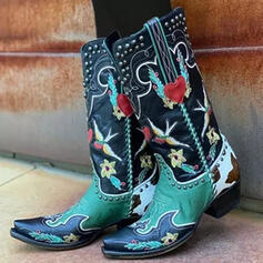 Women's PU Chunky Heel Boots Mid-Calf Boots Square Toe With Rivet Splice Color Embroidery shoes