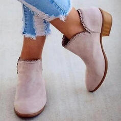 Women's PU Low Heel Ankle Boots Low Top Pointed Toe With Solid Color shoes
