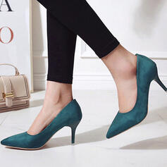 Women's Suede Stiletto Heel Closed Toe Heels With Solid Color shoes