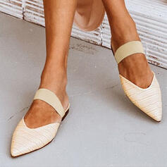 Women's PU Flat Heel Flats With Hollow-out Elastic Band shoes
