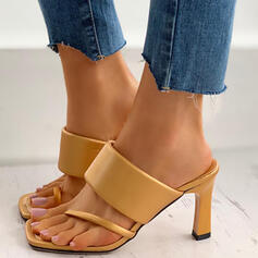Women's Leatherette Kitten Heel Sandals Pumps Flip-Flops Slippers With Solid Color shoes