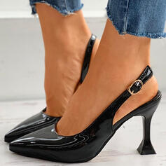 Women's PU Stiletto Heel Pumps Pointed Toe With Buckle Hollow-out shoes