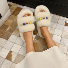 Women's Nylon Flat Heel Slippers With Plastic Beads shoes