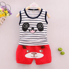 2-pieces Baby Boy Bear Animal Striped Print Cotton Set