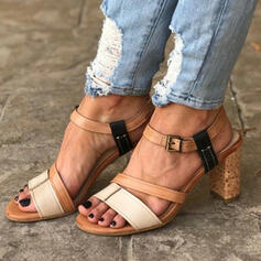 Women's Leatherette Chunky Heel Sandals Pumps Peep Toe With Buckle Hollow-out Splice Color shoes