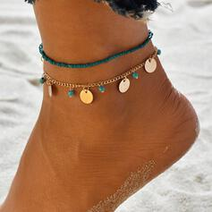Exotic Boho Alloy Beads With Coin Anklets 2 PCS
