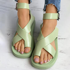 Women's PU Flat Heel Sandals Peep Toe Toe Ring With Buckle Crisscross shoes
