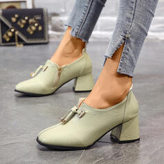 Women's PU Chunky Heel Pointed Toe With Lace-up shoes