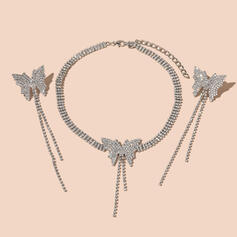 Shining Butterfly Shaped Tassels Design Alloy Rhinestones With Butterfly Rhinestones Jewelry Sets Necklaces Earrings 3 PCS