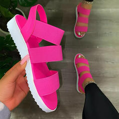 Women's PU Flat Heel Sandals Flats Peep Toe With Hollow-out Solid Color shoes