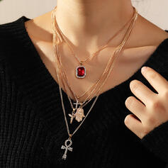 Cross Layered Alloy With Rhinestone Necklaces 5 PCS