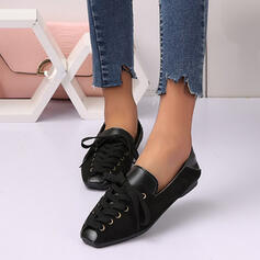 Women's Suede Flat Heel Flats With Lace-up Hollow-out Solid Color shoes