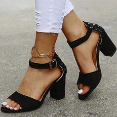 Women's PU Chunky Heel Sandals Peep Toe Heels With Buckle Solid Color shoes