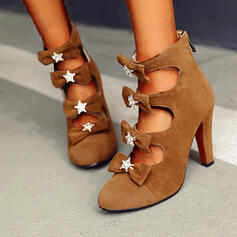 Women's Suede Cone Heel Pumps High Top Pointed Toe With Bowknot Zipper Hollow-out shoes