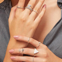 Simple Attractive Geometric Alloy Rings 9 PCS