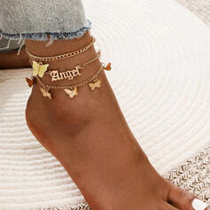 Letter Charming Butterfly Alloy With Angeles Anklets (Set of 3)