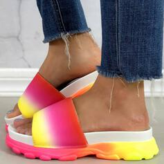 Women's Leatherette Low Heel Sandals Platform Wedges Peep Toe Slippers With Splice Color shoes