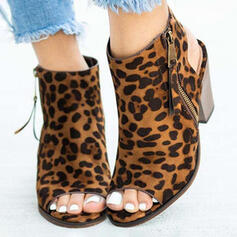 Women's PU Chunky Heel Peep Toe Slingbacks Ankle Boots Heels With Animal Print Zipper Solid Color shoes