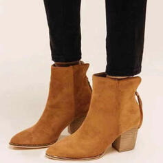 Women's Suede Chunky Heel Ankle Boots Pointed Toe With Zipper Solid Color shoes