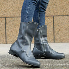 Women's Leatherette Low Heel Boots Mid-Calf Boots High Top Winter Boots Combat Boots shoes