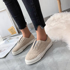 Women's Suede Flat Heel Flats Slip On With Elastic Band Splice Color shoes