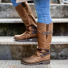 Women's PU Chunky Heel Mid-Calf Boots Riding Boots With Buckle Zipper Solid Color shoes
