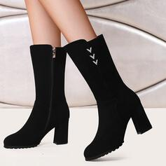 Women's Suede Cone Heel Mid-Calf Boots Heels Round Toe With Rhinestone Zipper Solid Color shoes