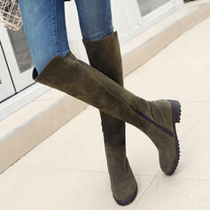 Women's PU Chunky Heel Boots Over The Knee Boots High Top Round Toe With Zipper Solid Color shoes