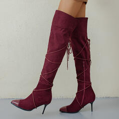 Women's Suede Stiletto Heel Knee High Boots Pointed Toe With Zipper Lace-up shoes