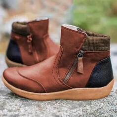 Women's PU Wedge Heel Boots Ankle Boots With Zipper Colorblock shoes