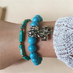 Boho Layered Natural Stone Alloy Turquoise Braided Rope Agate With Elephant Beads Bracelets 2 PCS