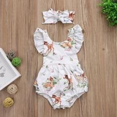 2-pieces Baby Girl Bowknot Cartoon Animal Print Cotton Set