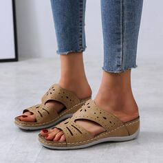 Women's Leatherette Wedge Heel Sandals Peep Toe Slippers With Hollow-out shoes
