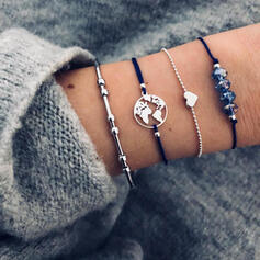 Fashionable Map Design Alloy Zircon With Heart Tag Bracelets (Set of 4)